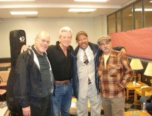 Michael with Stefan Grossman, John Hammond Jr and Roy Bookbinder at Merlefest, North Carolina 2012